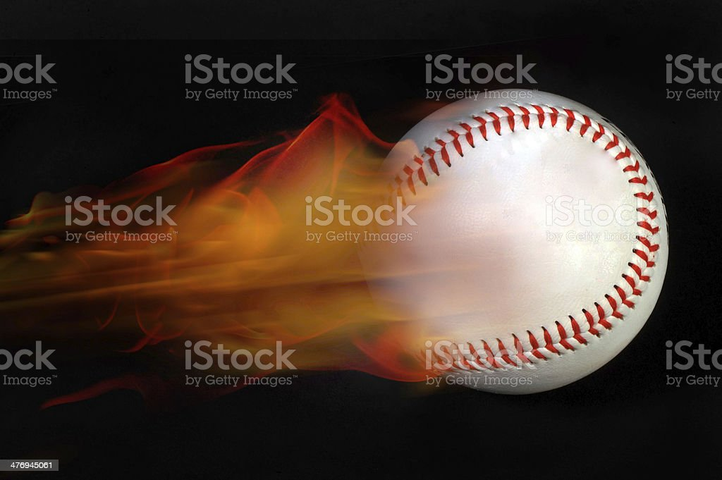 Baseball on Fire. stock photo