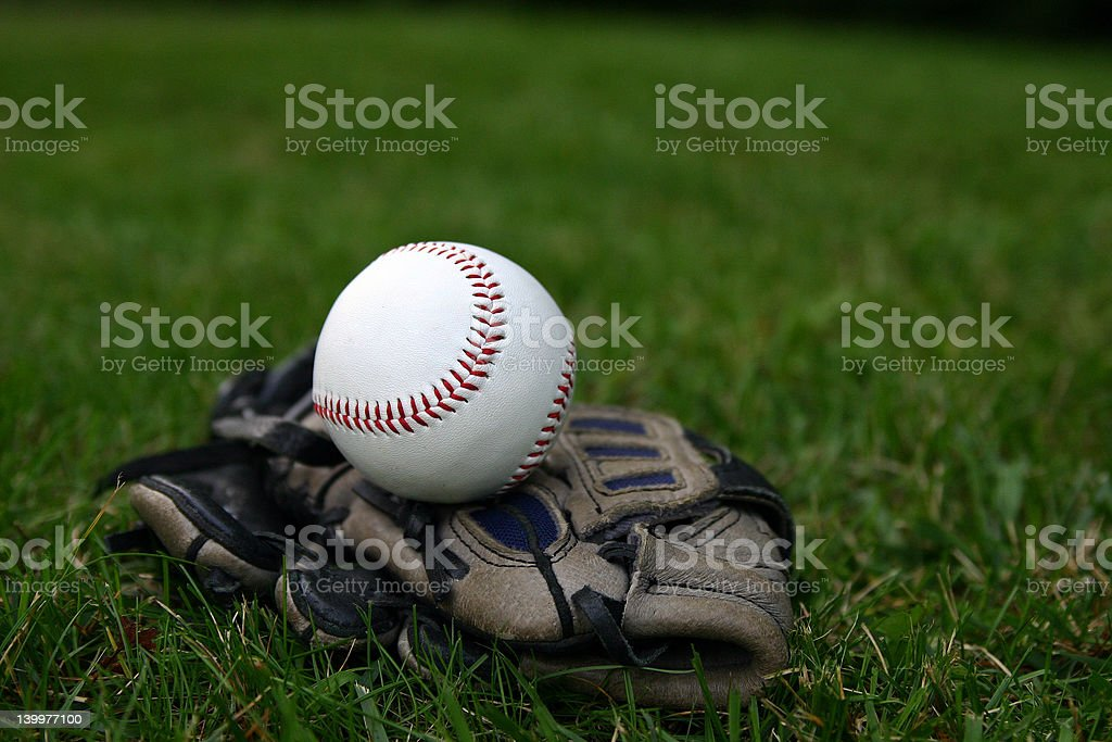 Baseball on glove royalty-free stock photo