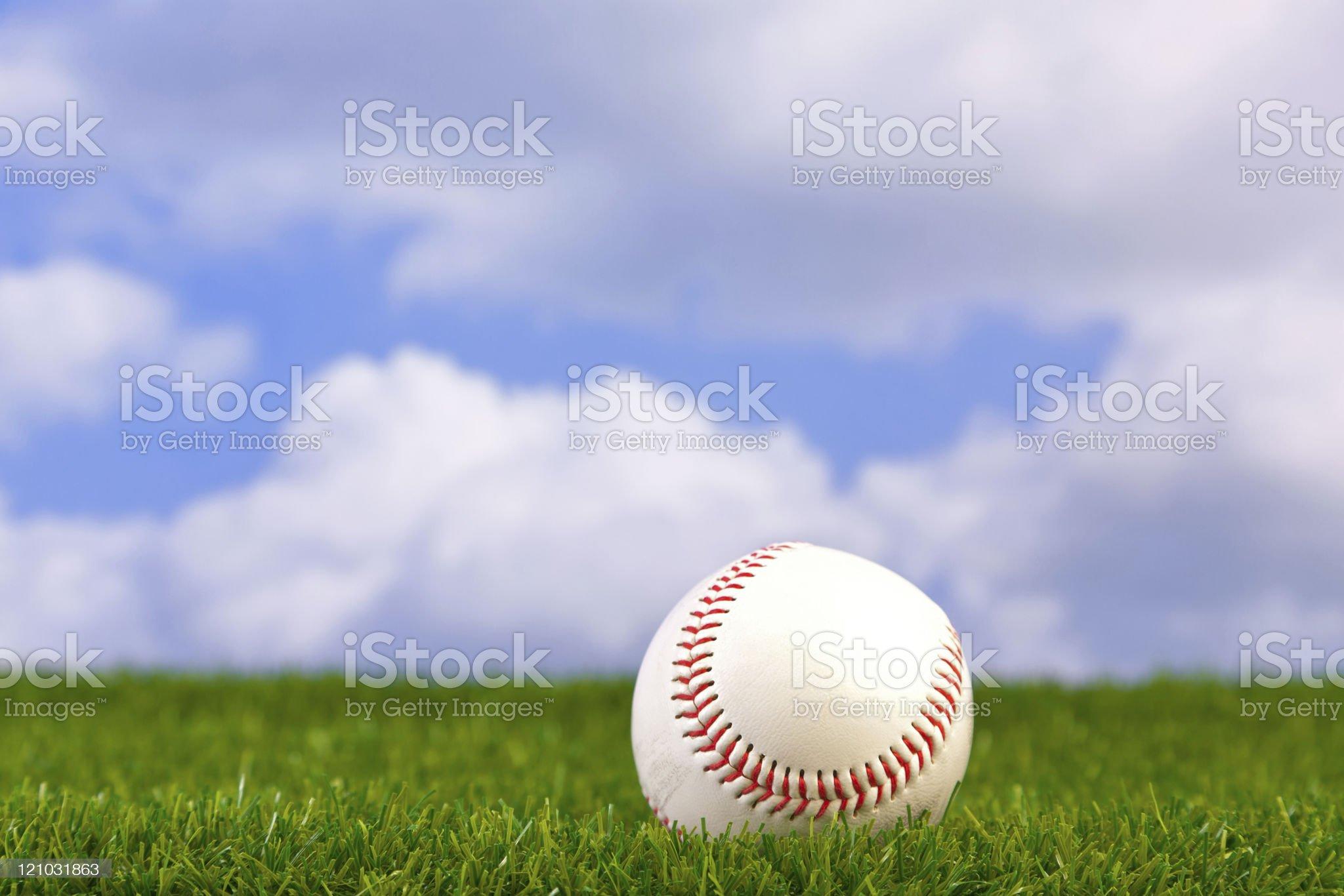 Baseball on grass royalty-free stock photo