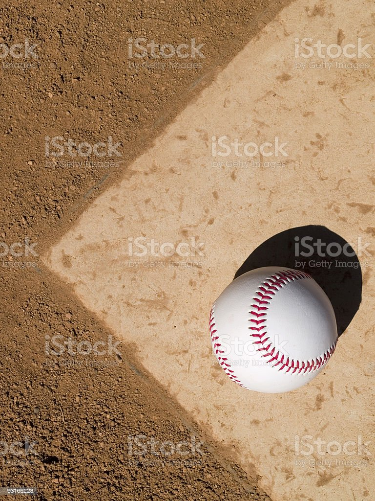 Baseball on Home Plate royalty-free stock photo