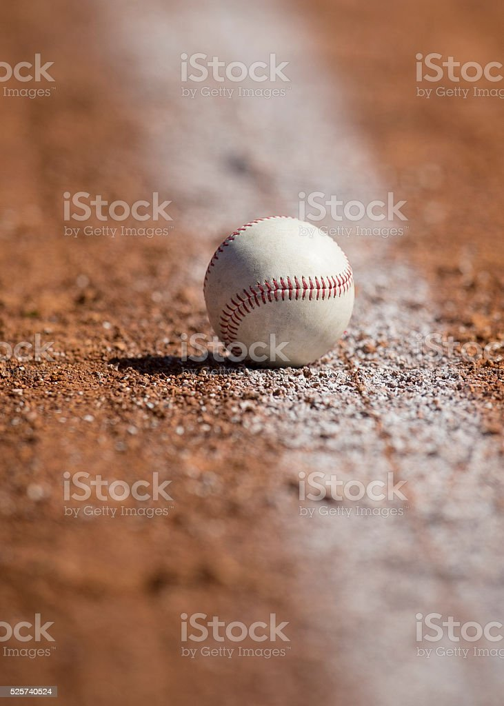 Baseball on Infield Chalk stock photo