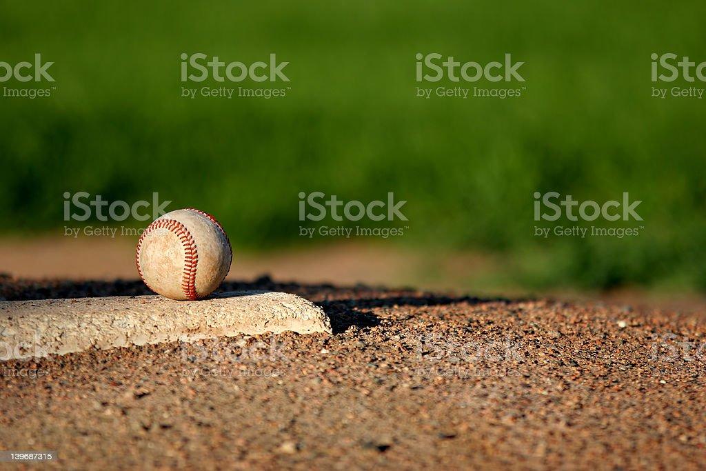 baseball on pitchers mound stock photo