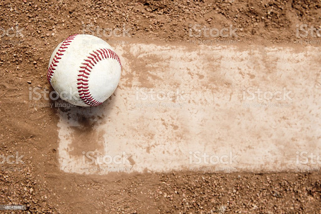 Baseball on Pitchers Mound Rubber stock photo