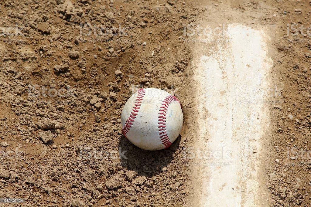 Baseball on Pitching Mound stock photo