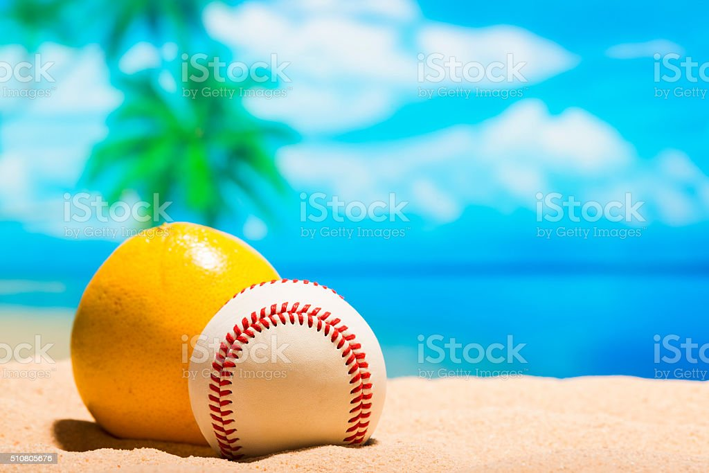 Baseball on the beach for Spring Training Grapefruit League stock photo