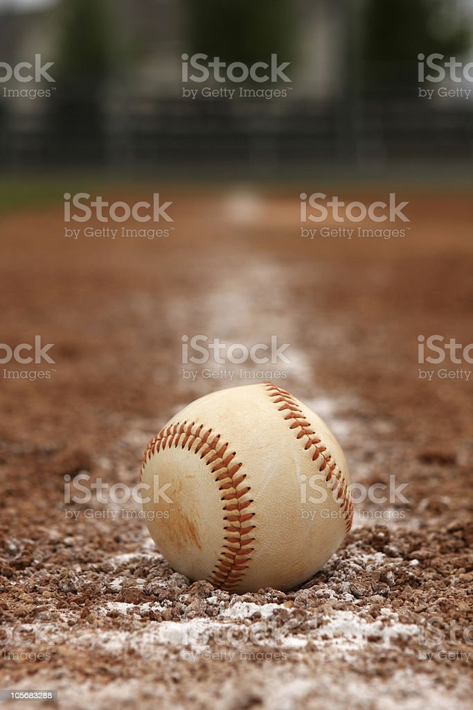 Baseball on the Chalk Line royalty-free stock photo