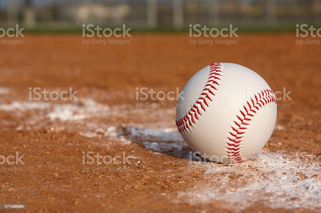 Baseball on the Chalk Line royalty-free stock photo