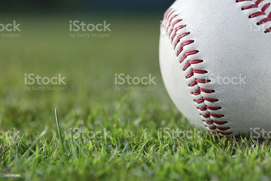 Baseball on the field stock photo