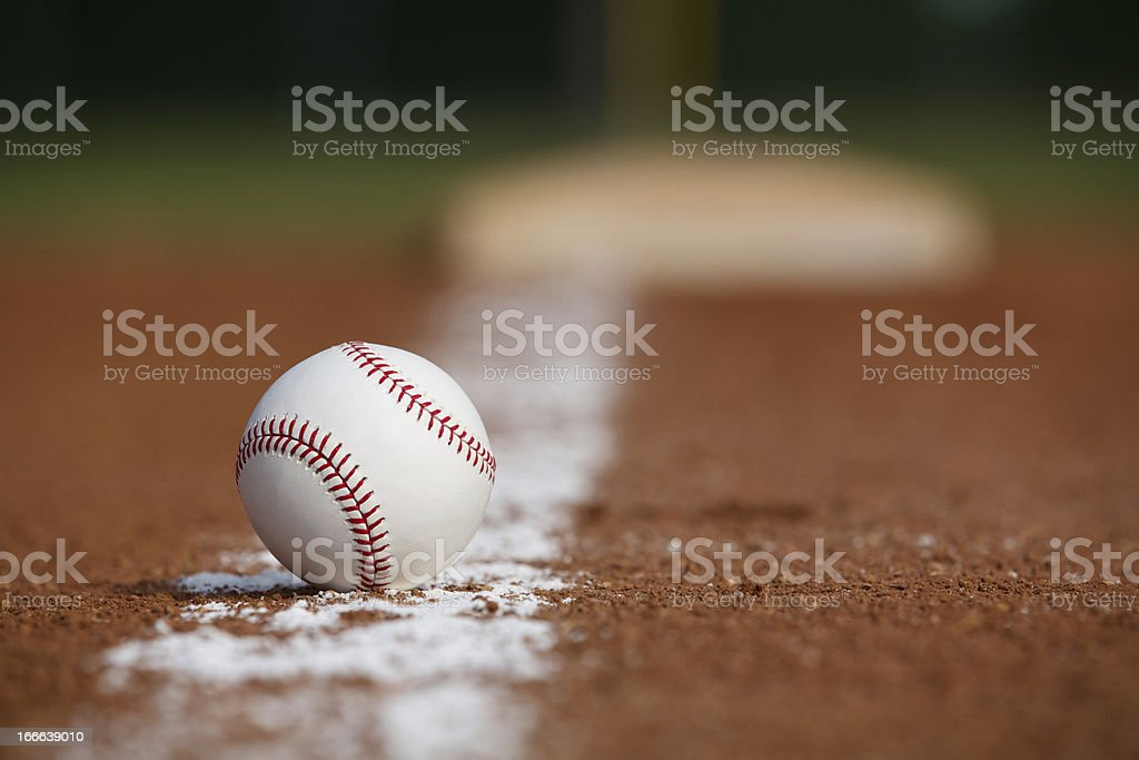 Baseball on the Infield Chalk Line royalty-free stock photo