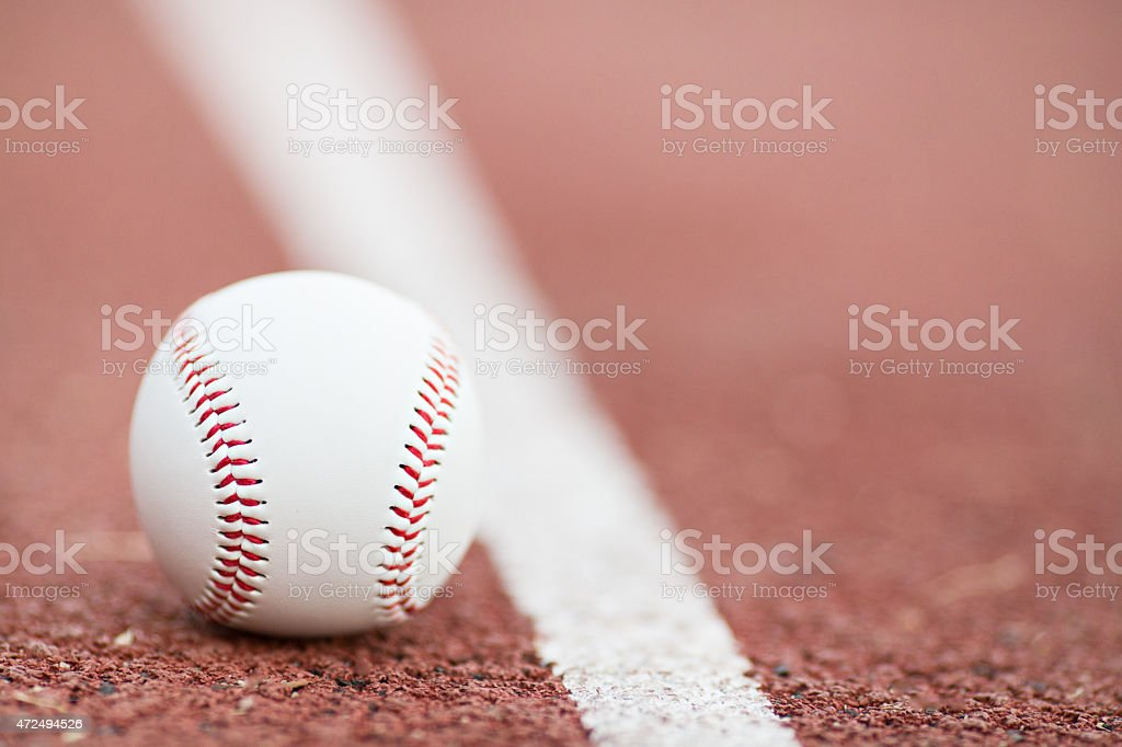 baseball on the Infield Chalk Line stock photo