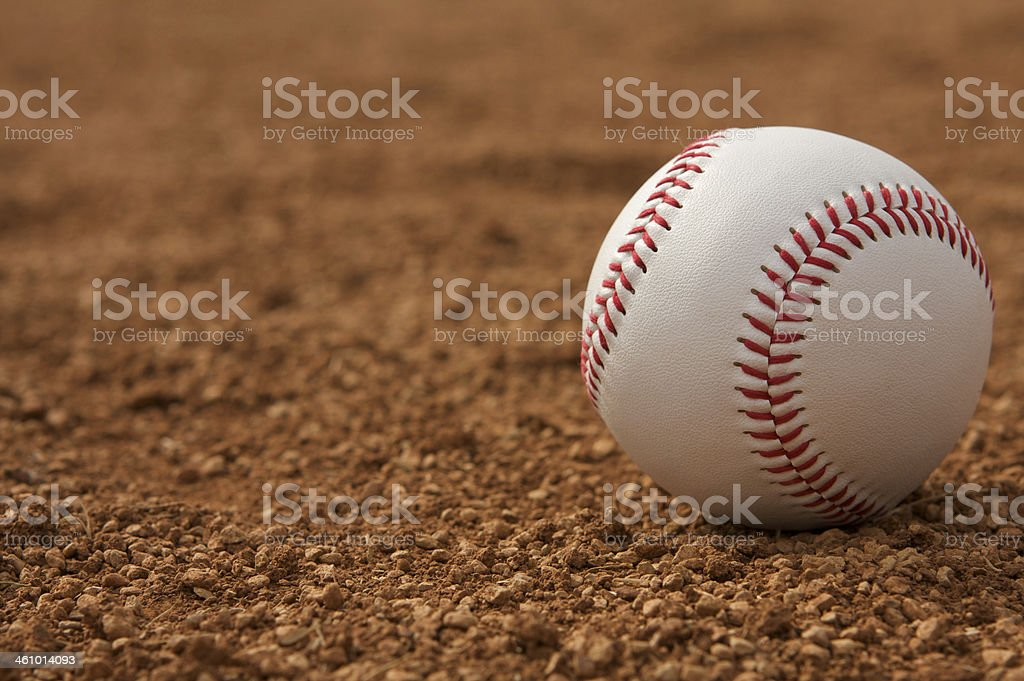 Baseball on the Infield Dirt royalty-free stock photo