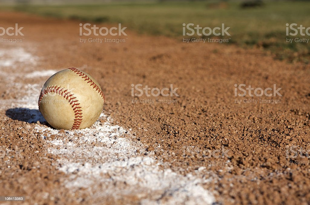 Baseball on the Line royalty-free stock photo