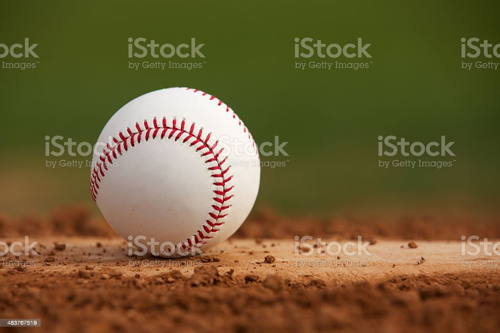 Baseball on the Pitchers Mound Close Up stock photo