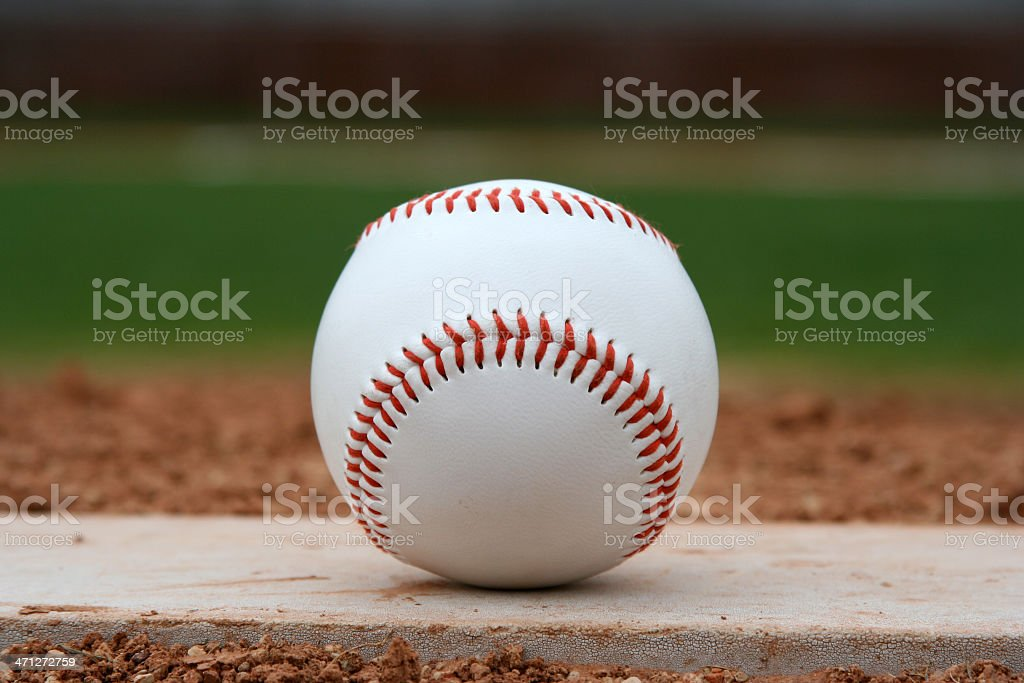 Baseball on the Pitchers Mound stock photo