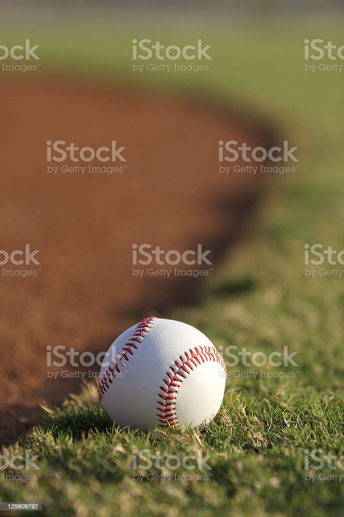 Baseball on the Rim of Infield stock photo