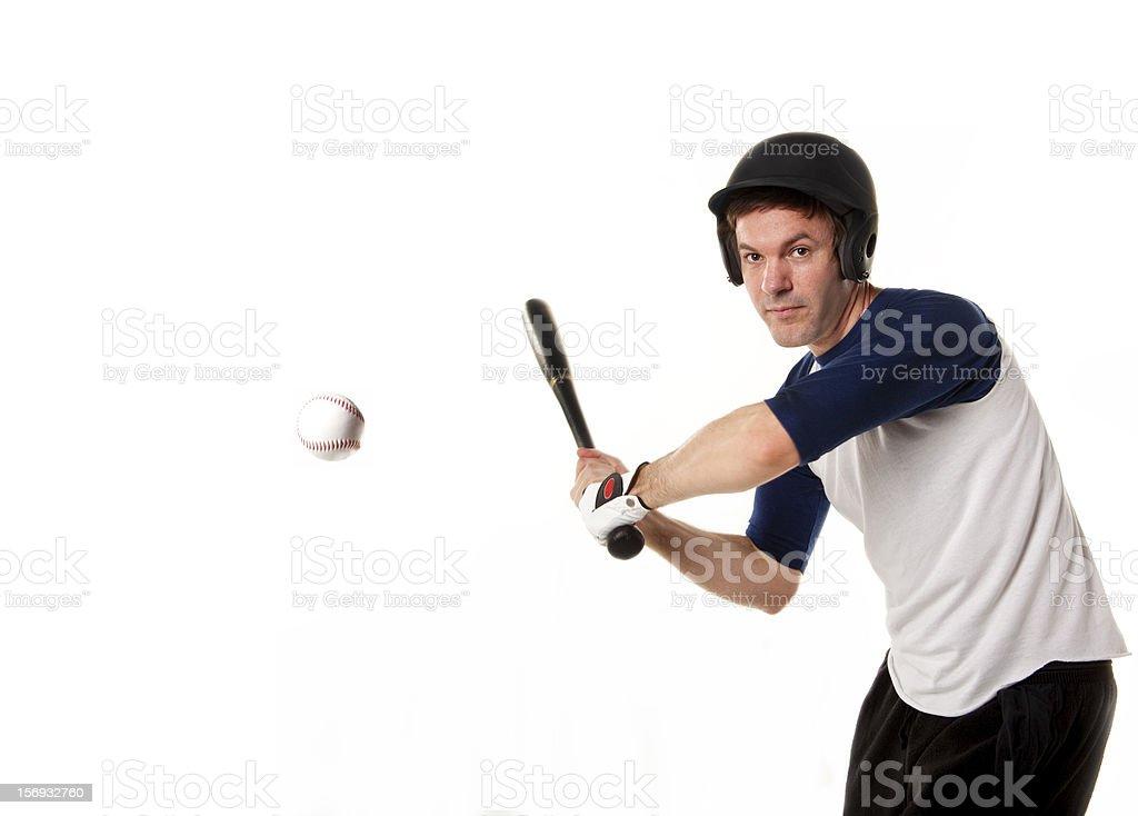 Baseball or softball Player Hitting a Ball royalty-free stock photo