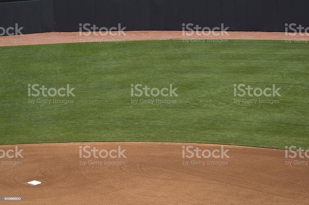 Baseball Outfield of Baseball Field at Baseball Game royalty-free stock photo