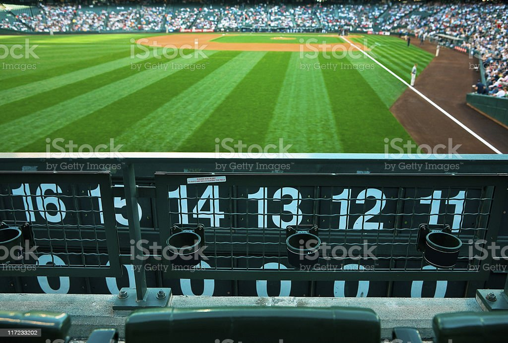 Baseball Park View from Outfield Seats stock photo