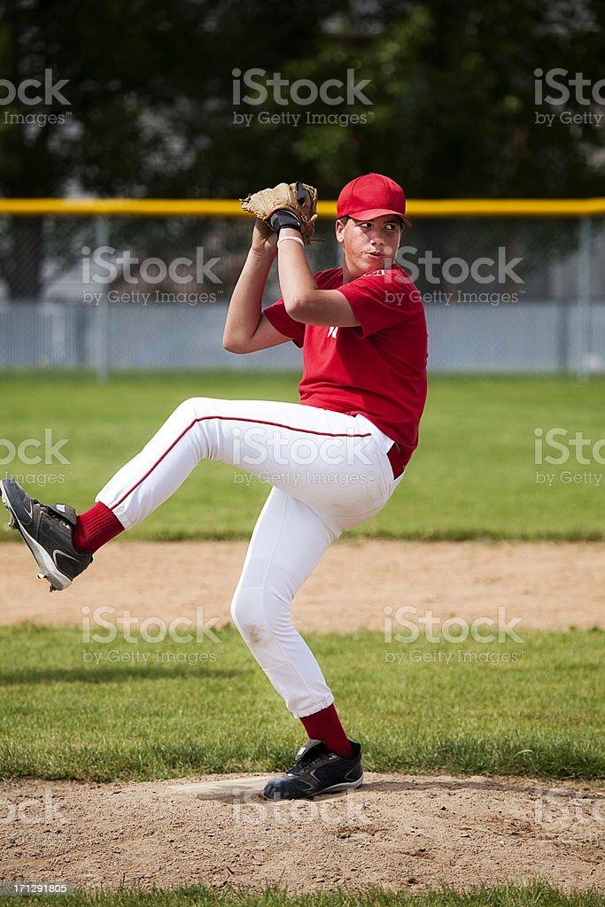 Baseball Pitcher Kicks into Delivery stock photo
