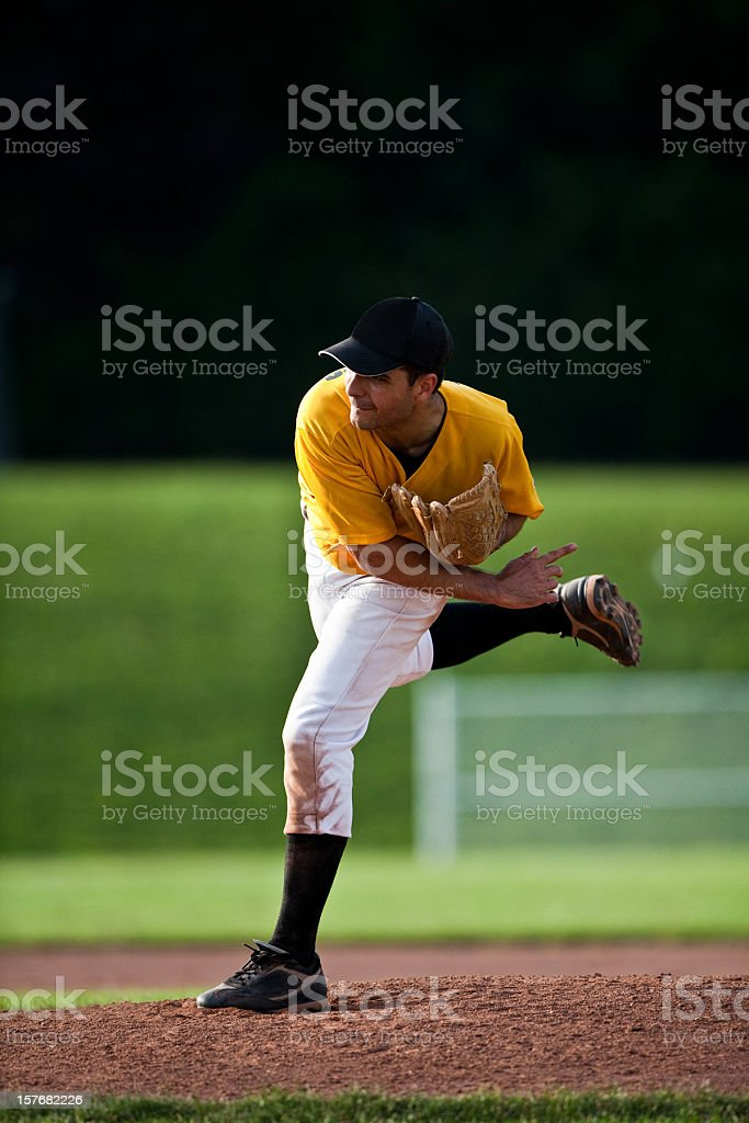 Baseball Pitcher - Live Game Action stock photo