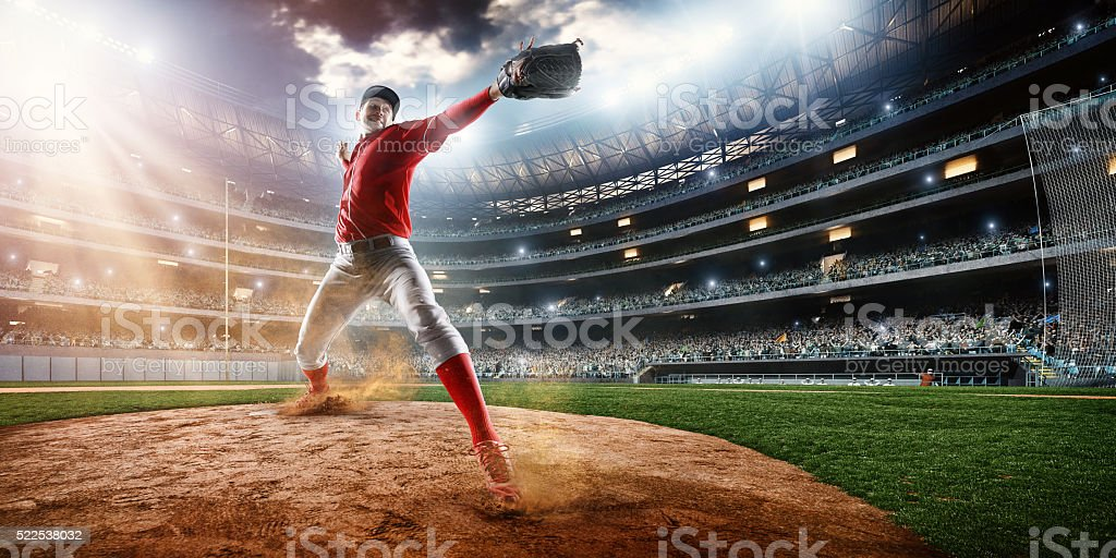 Baseball pitcher on stadium stock photo