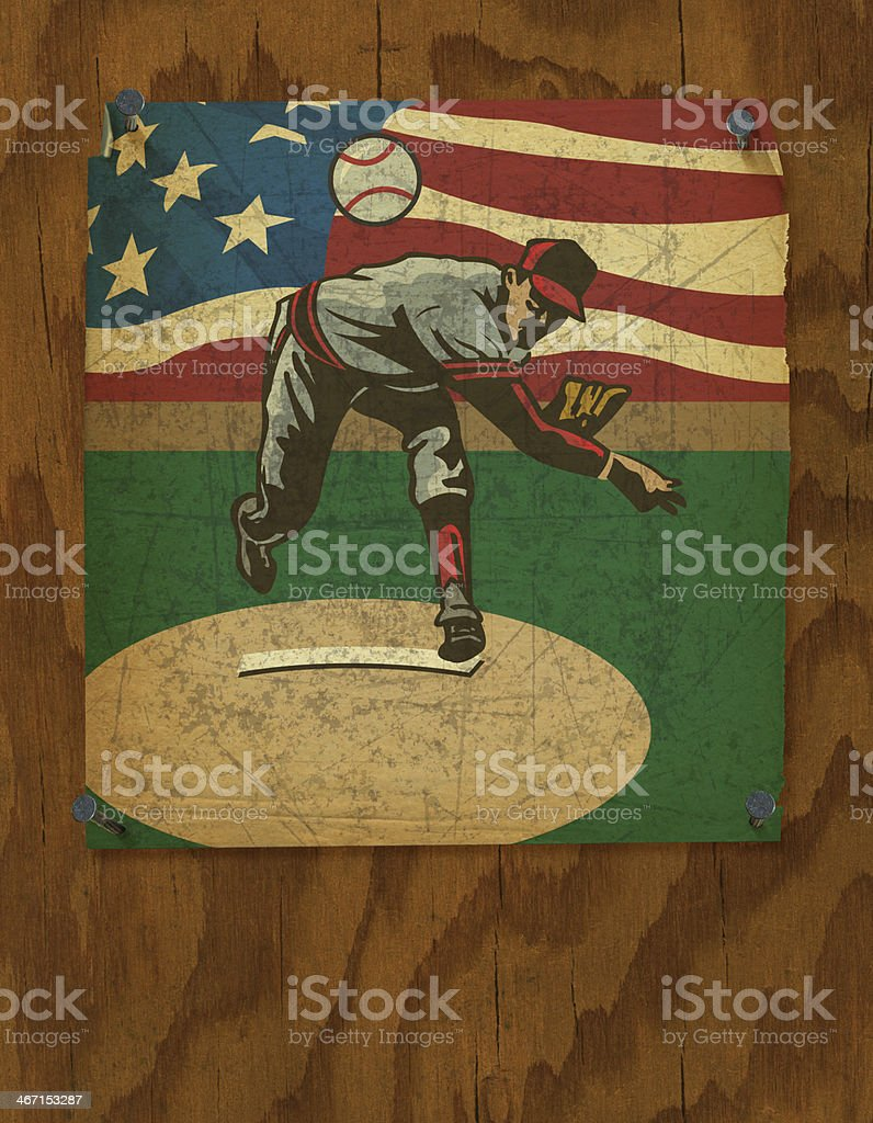 Baseball Pitcher Poster - Retro Style Background stock photo