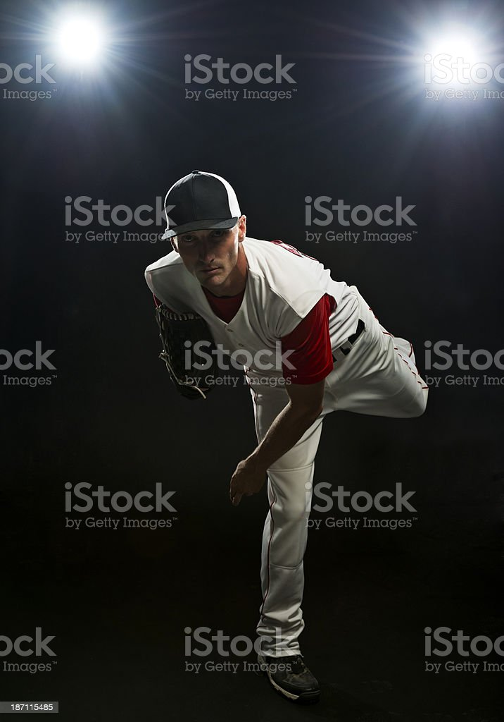 Baseball Pitcher throwing royalty-free stock photo