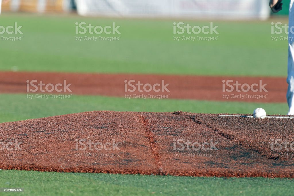 Baseball pitchers mound stock photo