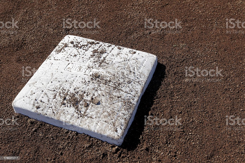 Baseball plate in the dirt stock photo