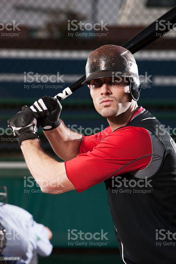 Baseball Player At Bat stock photo