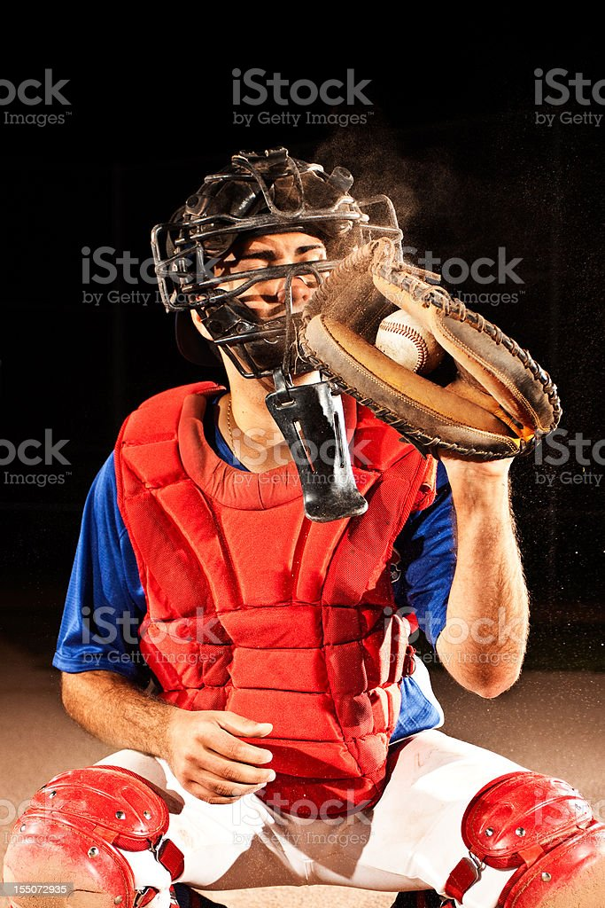 Baseball Player (catcher) at home plate royalty-free stock photo