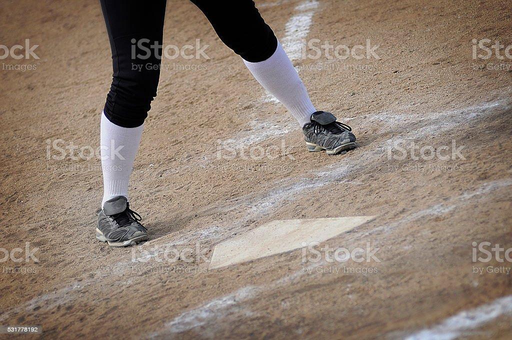 Baseball Player Batter Up At Home Plate stock photo