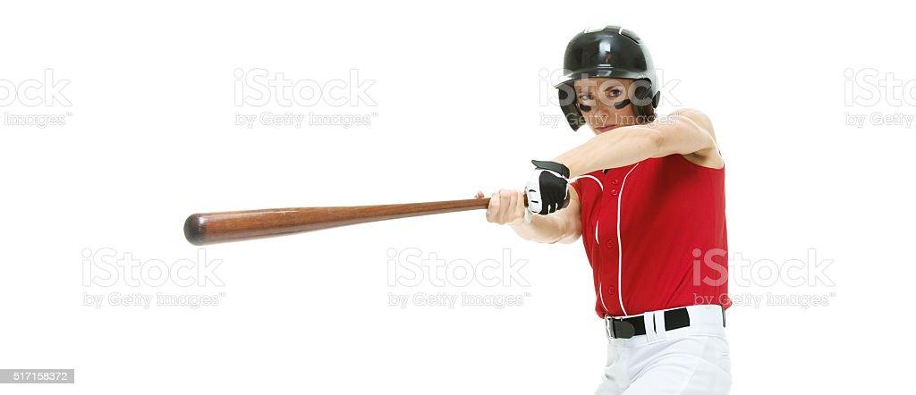 Baseball player batting stock photo