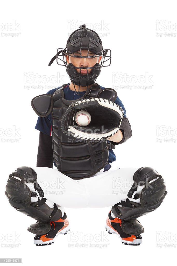 Baseball Player, Catcher, catching  a ball stock photo