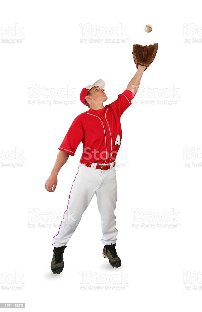 Baseball Player Catching Ball with Clipping Path stock photo
