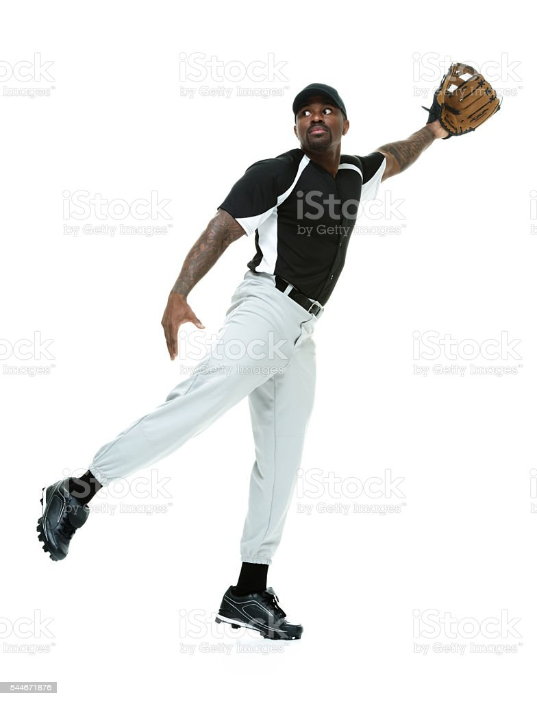 Baseball player catching stock photo