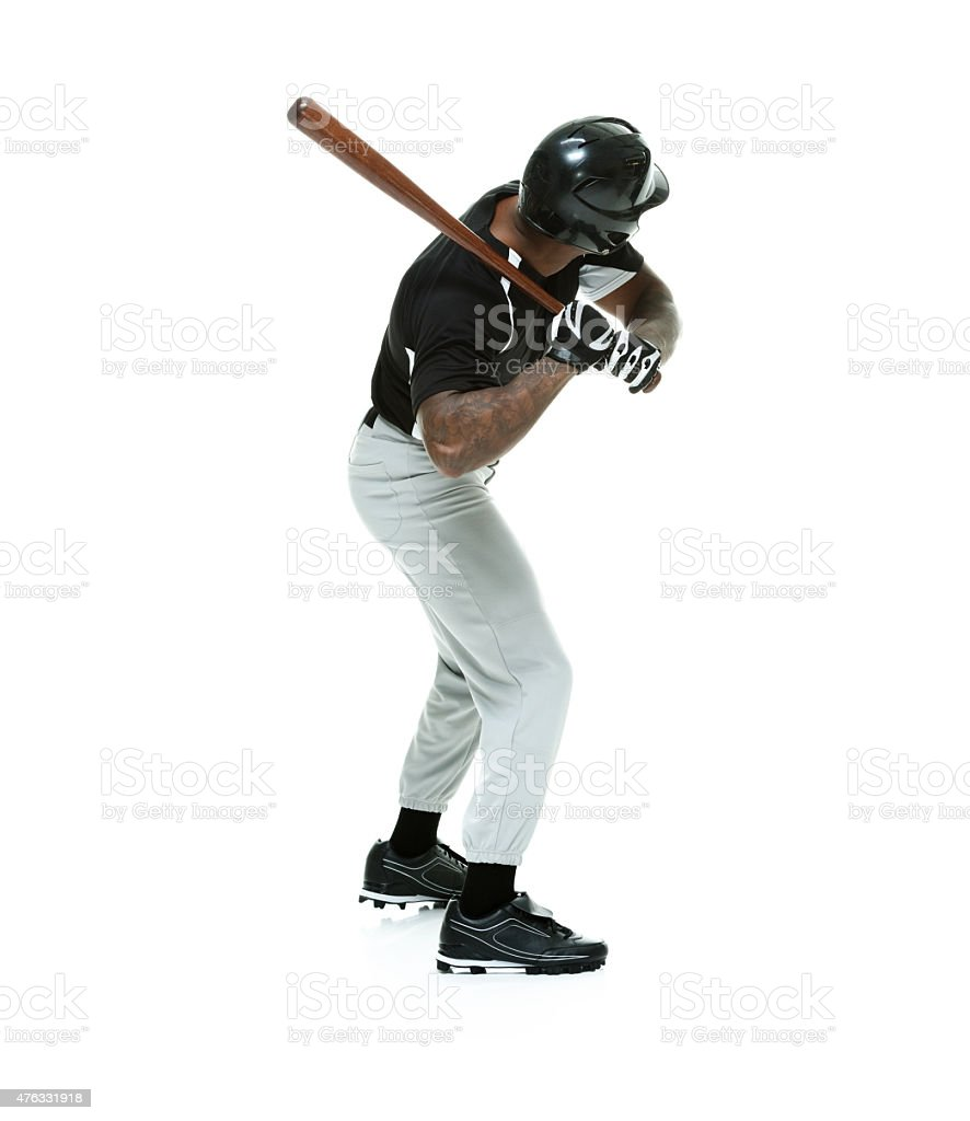 Baseball player in action stock photo