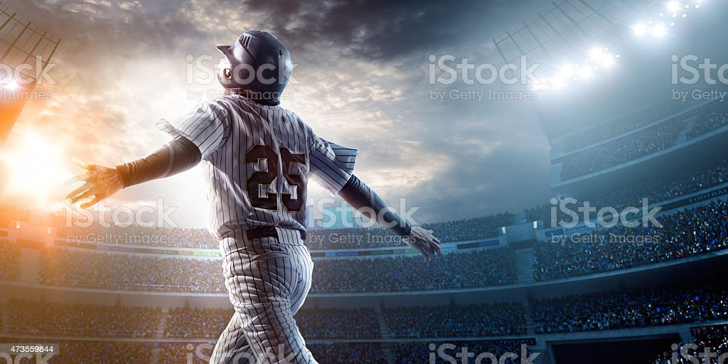 Baseball player in stadium stock photo