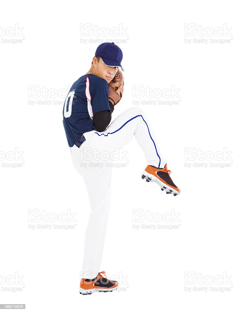 baseball player pitcher ready pose throwing ball stock photo