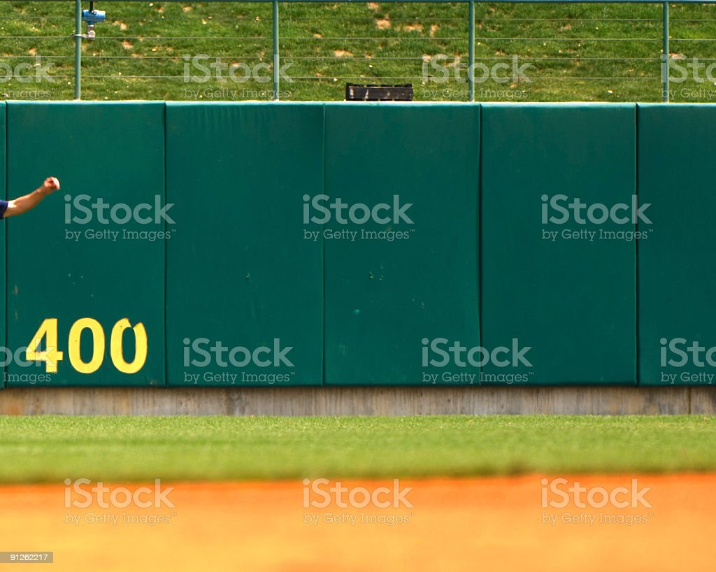 Baseball Player Playing in Live Baseball Game stock photo