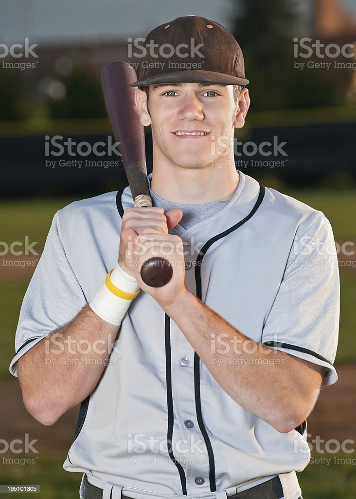 Baseball Player Portrait With Bat royalty-free stock photo