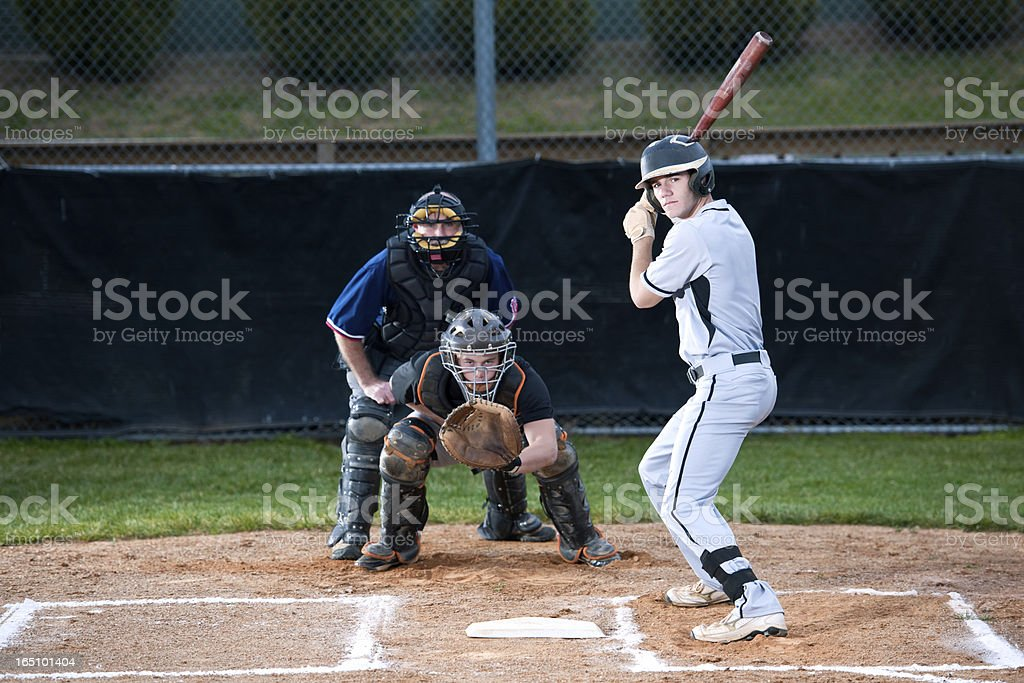 Baseball Player Ready To Hit The Ball stock photo