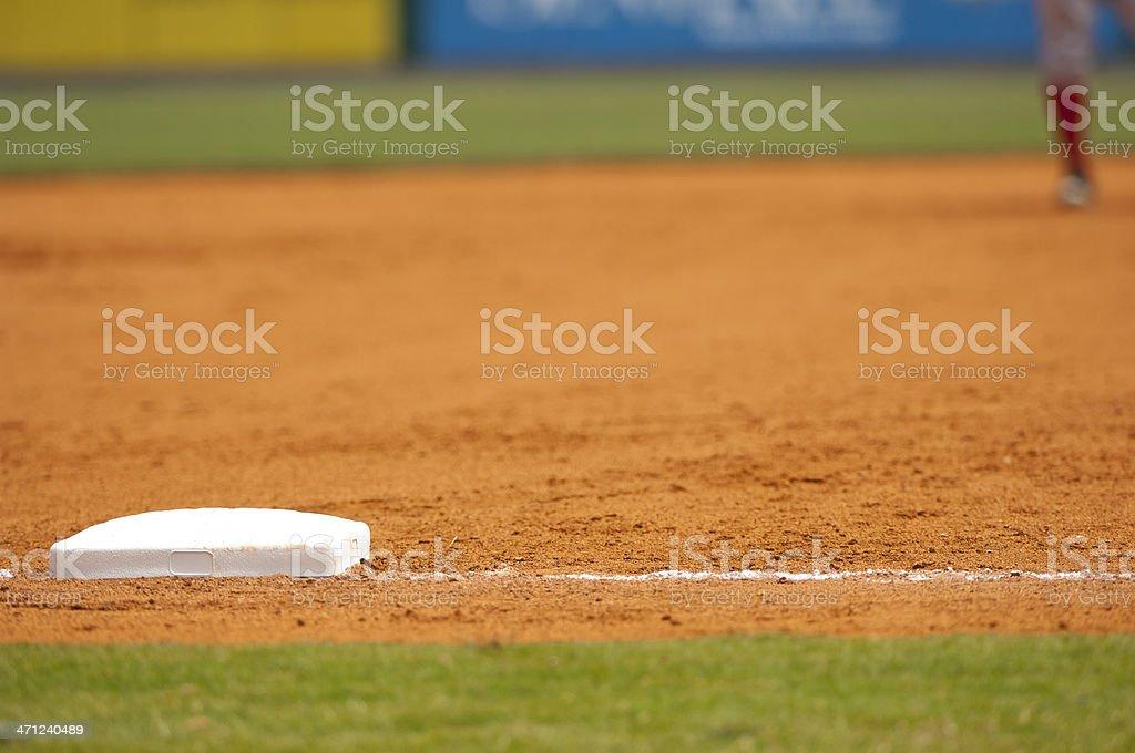 Baseball Player Running to third base on Baseball Field during Baseball Game royalty-free stock photo
