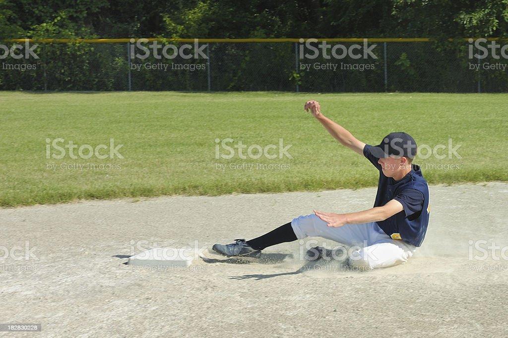 Baseball Player Slides Into Base stock photo