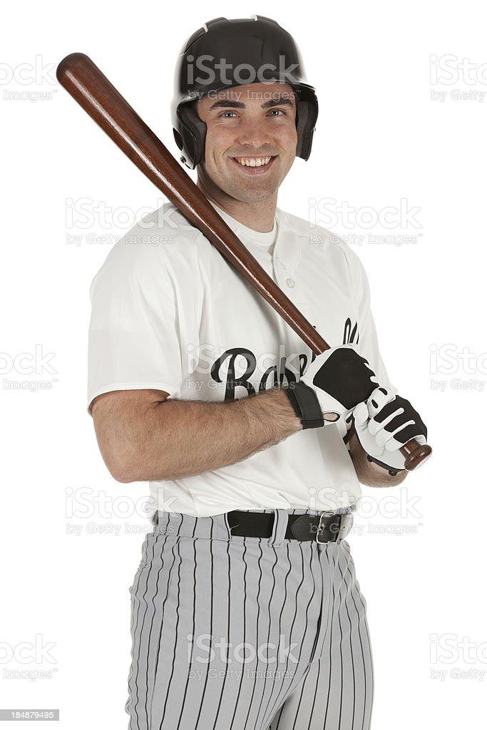 Baseball player smiling royalty-free stock photo