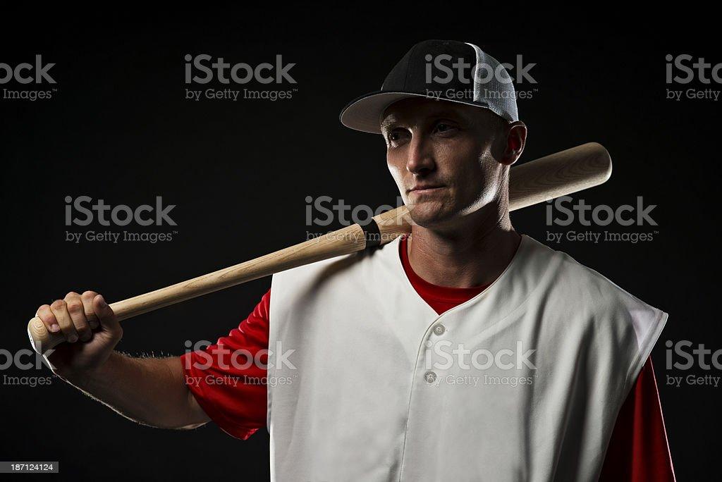 Baseball Player thining royalty-free stock photo