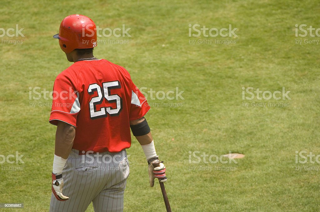 Baseball Player Walking to Home Plate Baseball Game stock photo