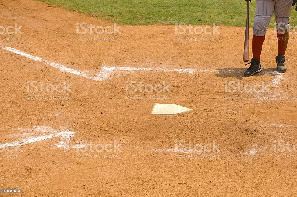 Baseball Player Walking to Home Plate Baseball Game stock photo