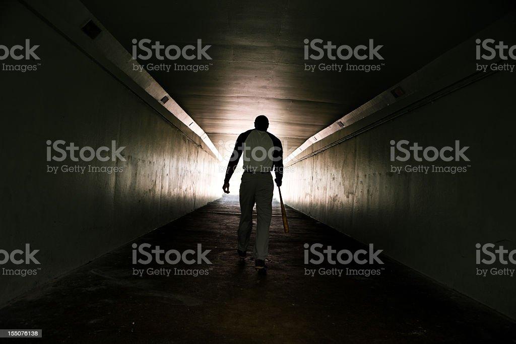 Baseball player walking with bat stock photo