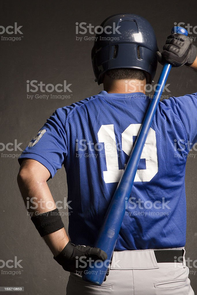 Baseball Player Warming Up with Bat stock photo